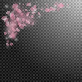 Pétales de sakura tombant. coin de fleurs roses romantiques.