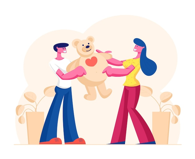 Petit ami aimant présentant un énorme ours en peluche cadeau à sa petite amie pour une joyeuse saint-valentin, un anniversaire ou des vacances. illustration plate de dessin animé