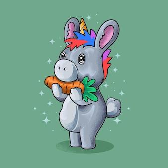 Petit âne, manger, carotte, grunge, style, illustration, vecteur