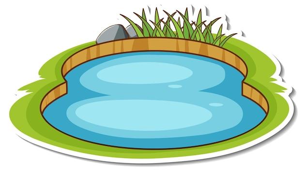Un petit autocollant d'étang naturel isolé