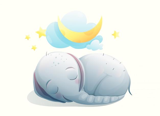 Petit bébé éléphant endormi les yeux fermés, sourire heureux dans le rêve. doux animal cub sur la lune rêvant.