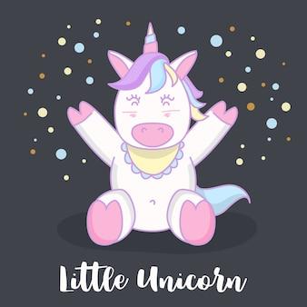 Petit bébé licorne dessin animé personnage illustration design