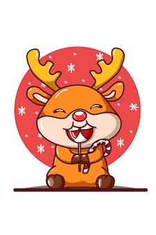 Un petit cerf mangeant une illustration de bonbons de noël