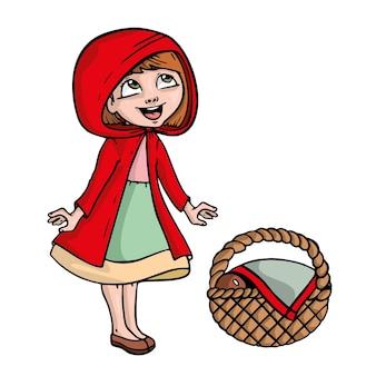 Petit chaperon rouge sur fond blanc illustration de dessin animé mignon.