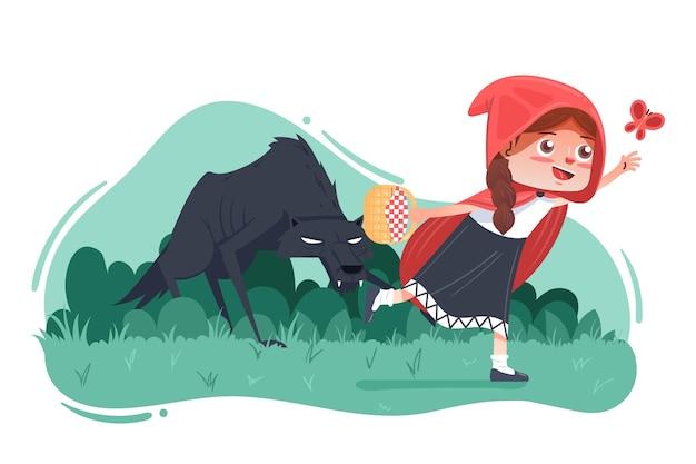Le petit chaperon rouge avec un loup effrayant