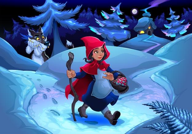 Petit chaperon rouge marchant dans le bois