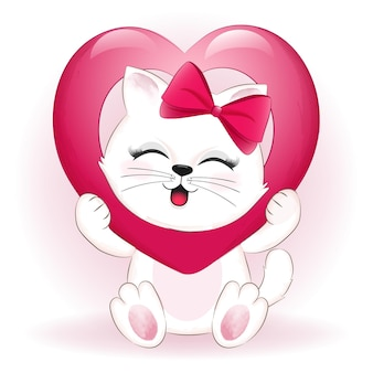 Petit Chat Et Coeur Concept De La Saint-valentin Vecteur Premium