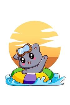 Petit chat mignon nageant dans l'illustration de dessin animé de vacances d'été
