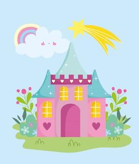 Petit château arc-en-ciel étoile filante fleurs jardin nuage conte de jardin dessin animé