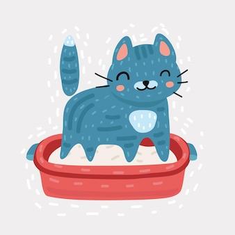 Petit chaton gris dans un bac à litière en plastique