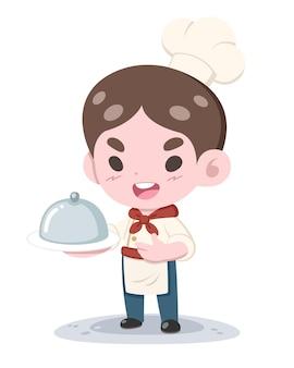 Petit chef de style mignon présentant un dessin animé de plat
