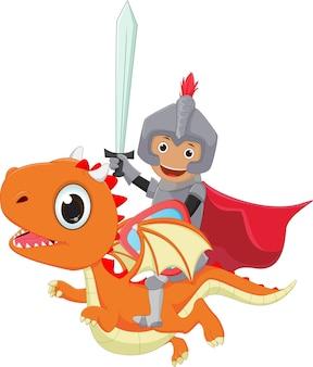 Petit chevalier chevauchant le dragon