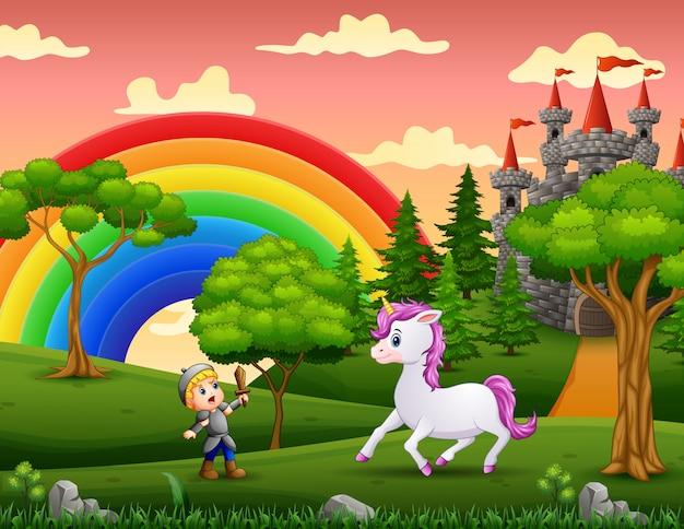 Le petit chevalier combat une licorne dans la cour du château
