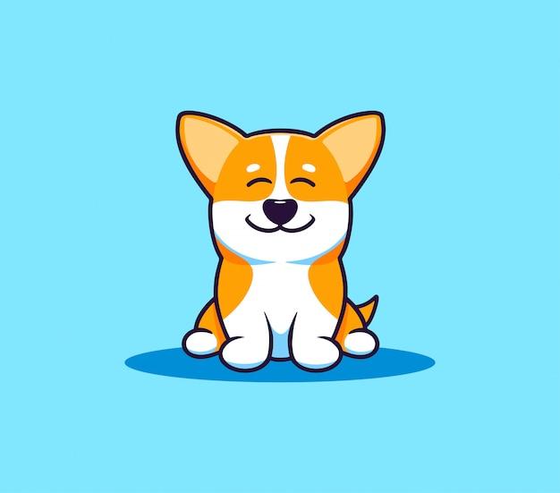 Un petit chien corgi, logo. personnage de dessin animé drôle, logotype