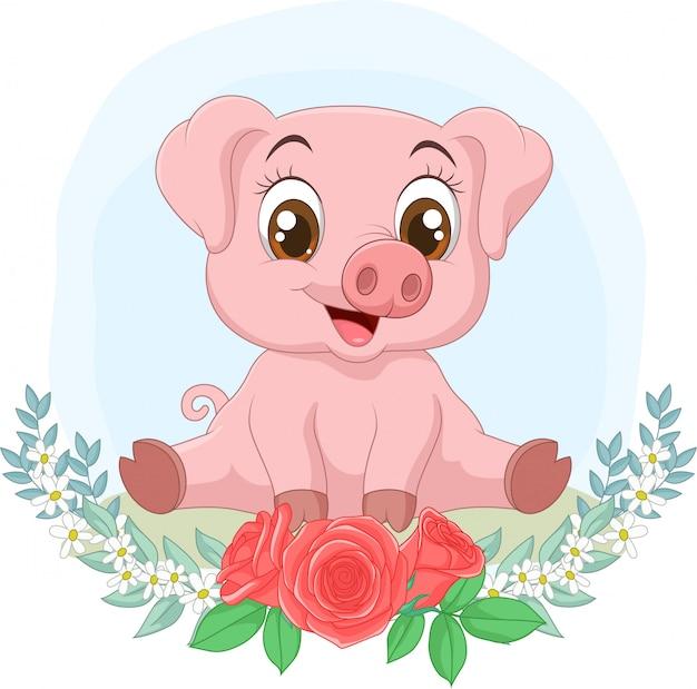 Petit cochon mignon assis avec fond de fleurs