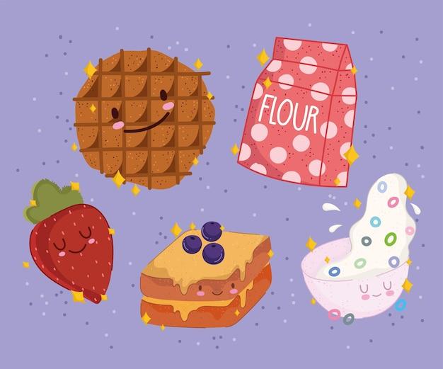 Petit déjeuner alimentaire dessin animé mignon biscuit fraise sandwich au lait céréales
