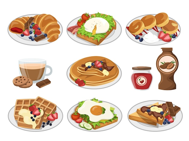 Petit-déjeuner sur assiettes délicieux desserts gaufres œufs au plat plats sains sirops de café