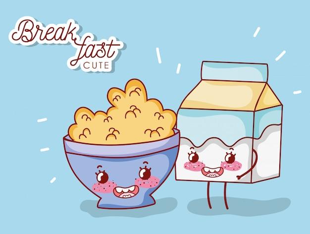 Petit déjeuner bol mignon avec dessin animé boîte de céréales et de lait