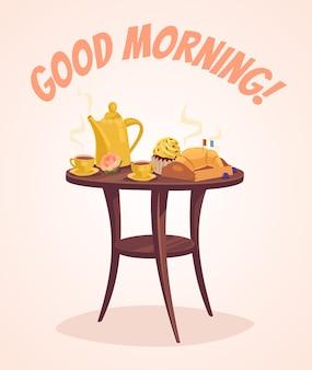Petit déjeuner. bonjour.