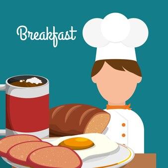 Petit déjeuner chef cuisson délicieux oeuf pain cappuccino