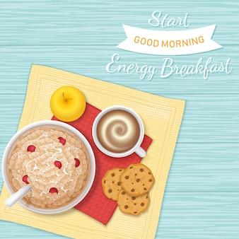 Petit déjeuner énergétique. commençons un bon matin.