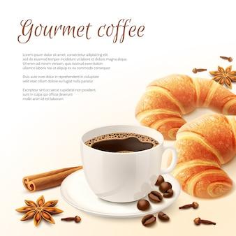 Petit déjeuner avec fond de café