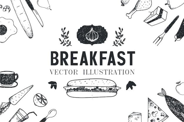 Petit déjeuner, illustration dessinée à la main de nourriture, bannière, couverture de menu, affiche. noir et blanc