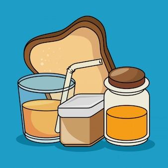 Petit déjeuner, jus, pain, miel, icônes