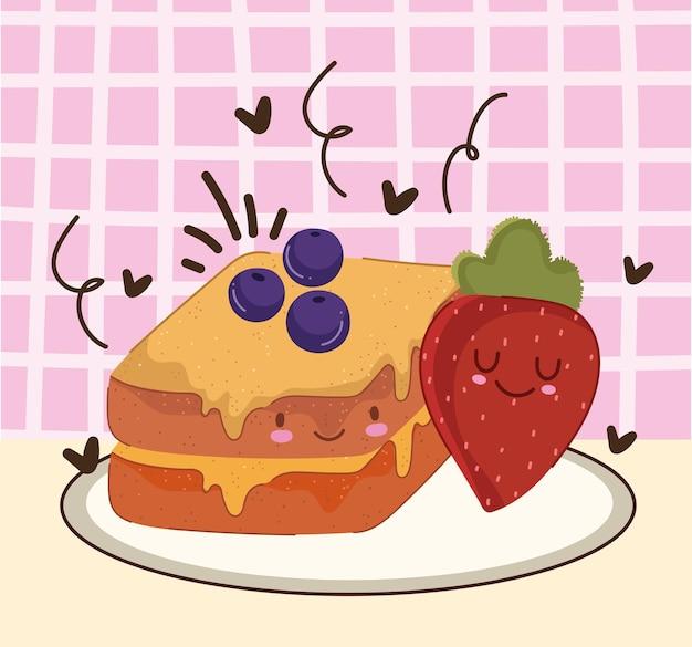 Petit déjeuner mignon pain aux fruits