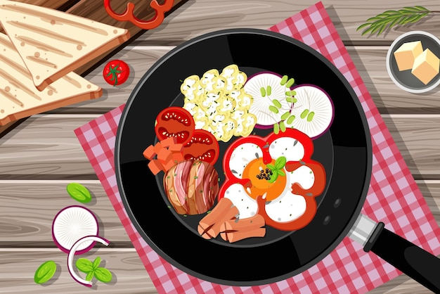 Petit-déjeuner mis dans la casserole isolé