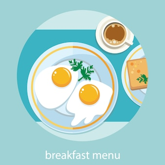 Petit déjeuner mis en vue de dessus. café, œuf au plat, gaufres. menu du petit déjeuner en style cartoon