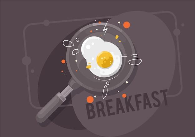 Petit-déjeuner. œufs au plat sur une poêle à frire.