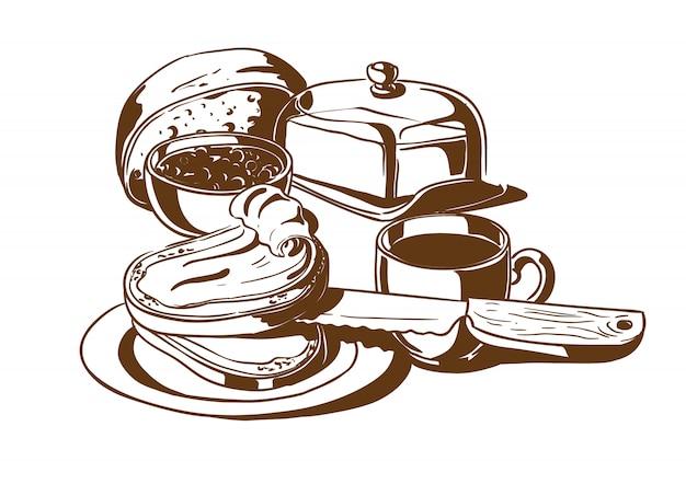 Petit déjeuner. pain au beurre, confiture et café