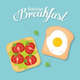 Petit-déjeuner, pains avec de la nourriture délicieuse au sommet