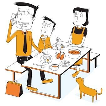 Petit déjeuner avec un père occupé