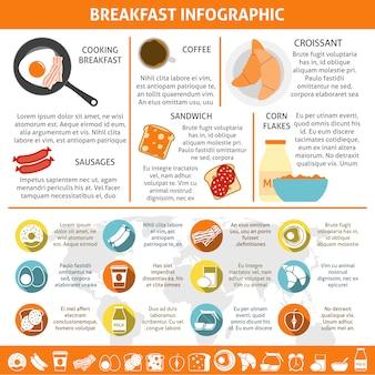 Petit déjeuner plat couleur infographique