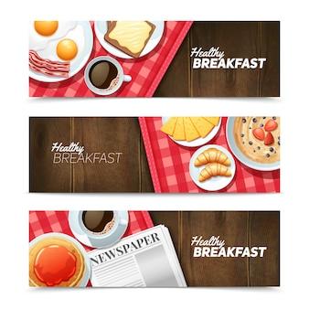 Petit-déjeuner sain 3 bannières horizontales serties de café noir et d'œufs au plat