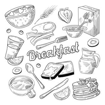Petit déjeuner sain dessiné à la main