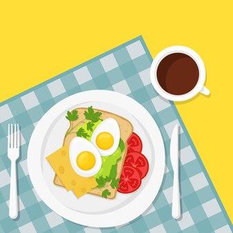 Petit-déjeuner sain. tasse de café et sandwich délicieux avec œuf dur, fromage et tomate et herbes sur fond de nappe à carreaux. illustration vectorielle style plat