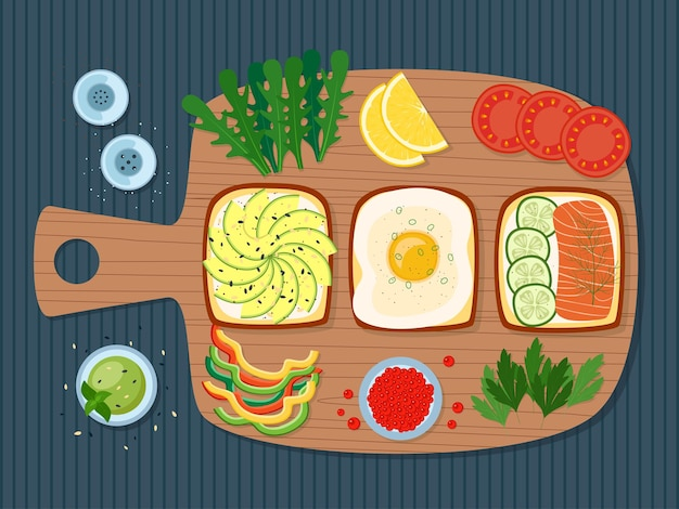 Petit-déjeuner sain, toasts aux légumes verts, œuf, avocat, saumon, caviar, légumes, illustration vectorielle