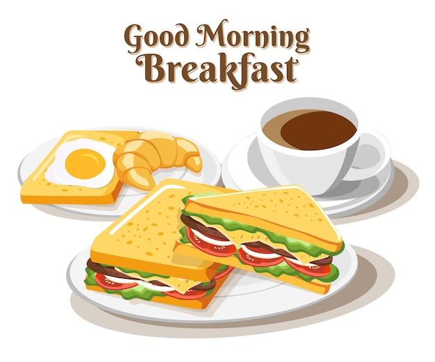 Petit déjeuner sandwich ensemble de nourriture sur fond blanc, illustration