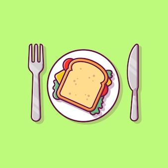 Petit déjeuner sandwich sur plaque avec couteau et fourchette cartoon illustration.