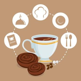 Petit déjeuner tasse café biscuits sucre badge fond beige