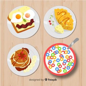 Petit déjeuner vue de dessus dessiné à la main