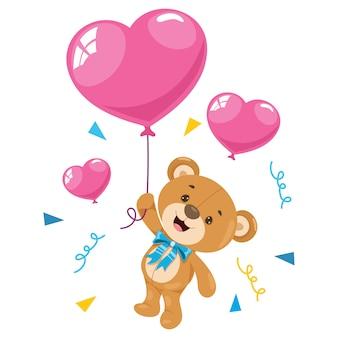 Petit dessin animé drôle d'ours en peluche