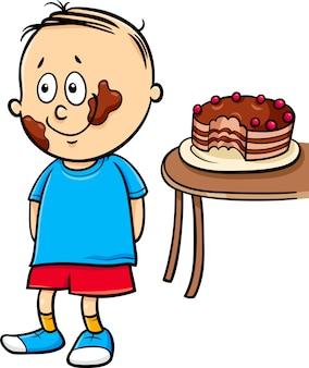 Petit dessin animé de garçon gourmand