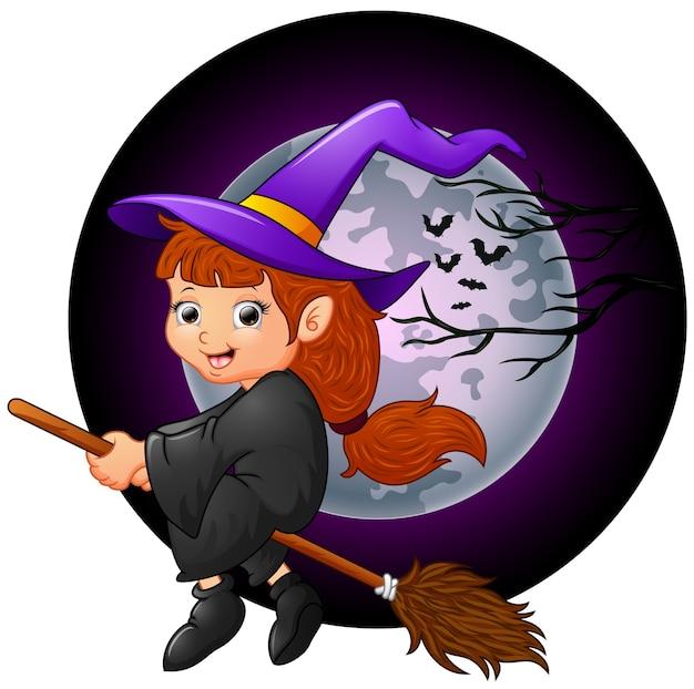 Petit dessin animé de sorcière battant