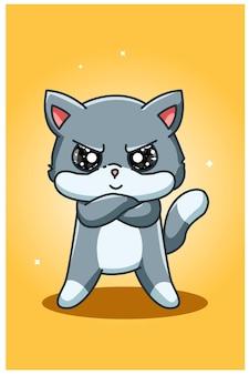 Petit dessin à la main de chat en colère et mignon
