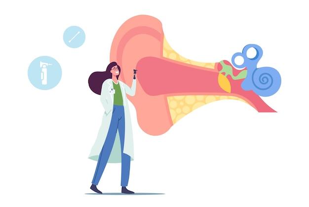 Petit docteur audiologiste avec instrument contrôle énorme oreille malade, oto-rhino-laryngologiste personnage féminin tenant un outil vérifiant l'audition pour le traitement de l'otite, de la douleur ou des acouphènes