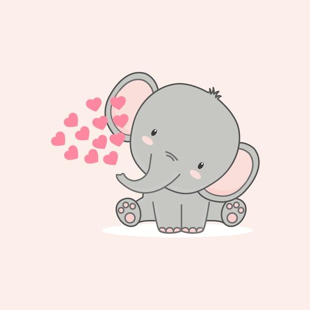 Le petit éléphant aux coeurs roses pour la saint-valentin.